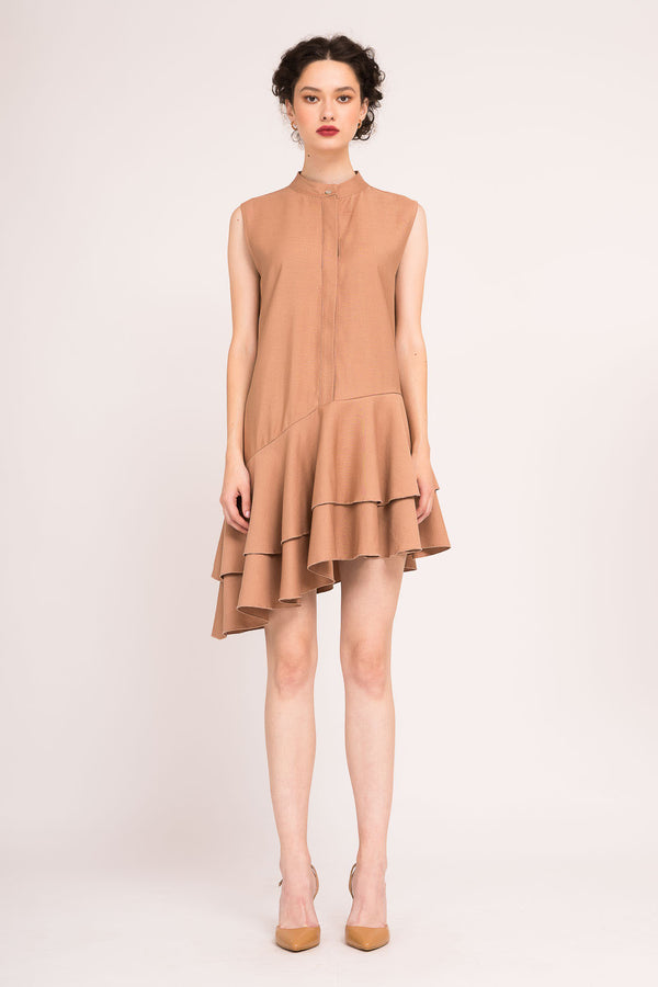 Asymmetric dress with double ruffles
