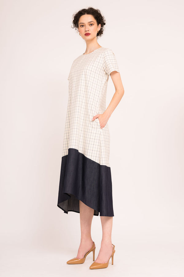 MIDI DRESS WITH  SHORT SLEEVES AND ASYMMETRICAL RUFFLE