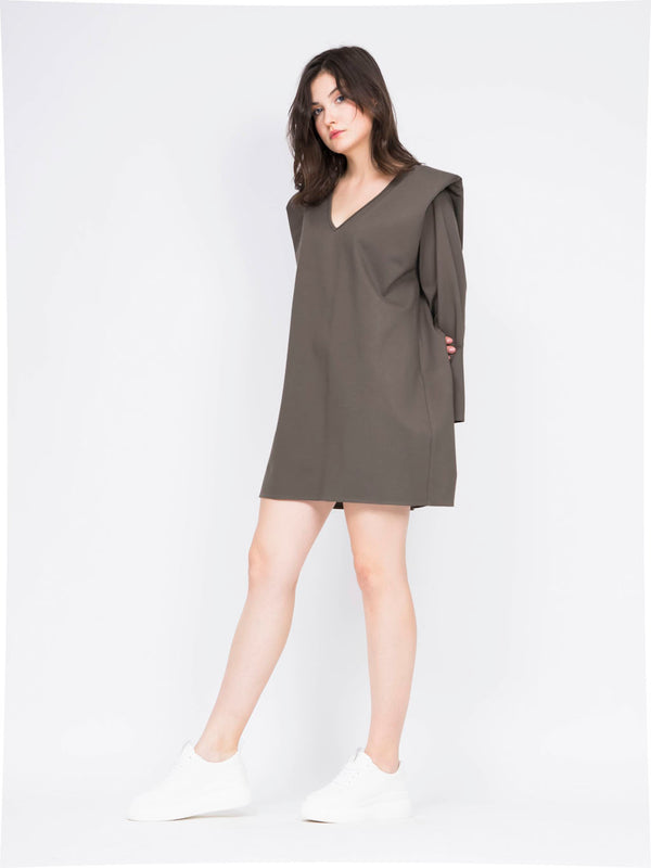 Mini dress with structured shoulders