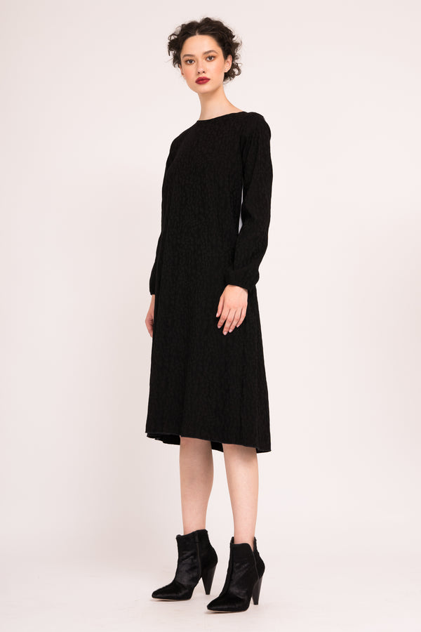 Midi jacquard dress with contrasting back and pockets