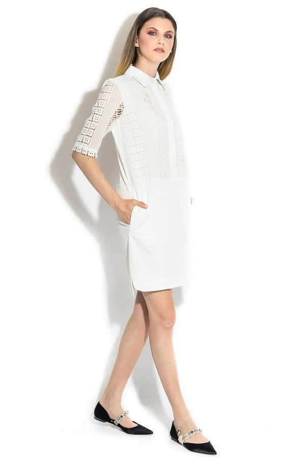 Shirt dress with guipure lace inserts
