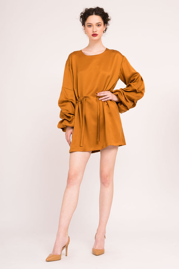 Mini dress with puffed sleeves and drawstring waist