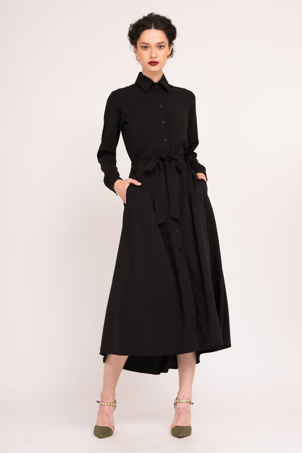 Calf length shirt dress with waist tie and pockets