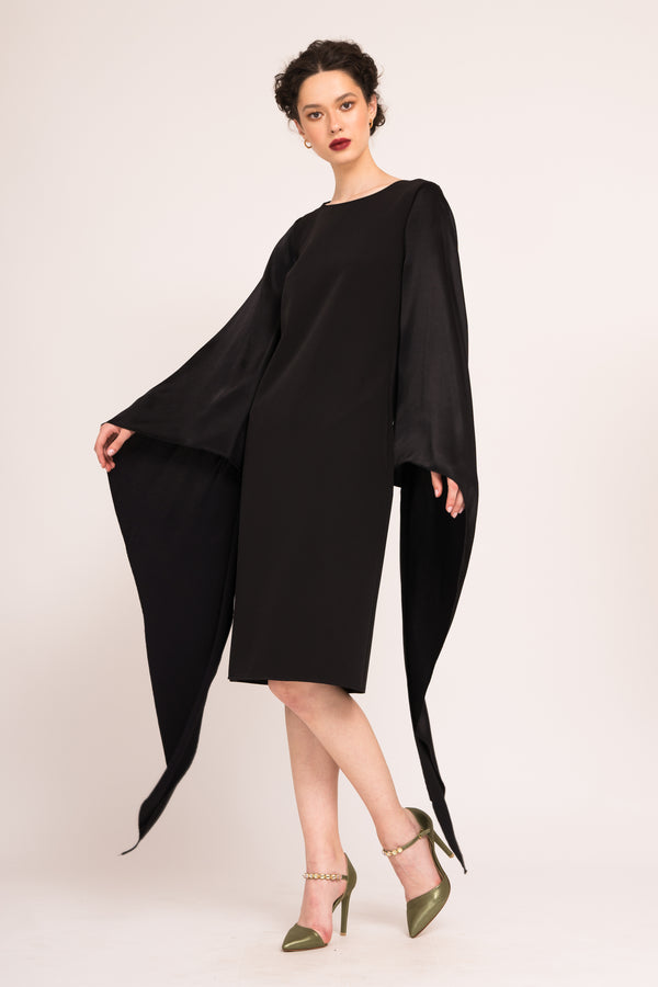 Midi straight dress with kimono sleeves