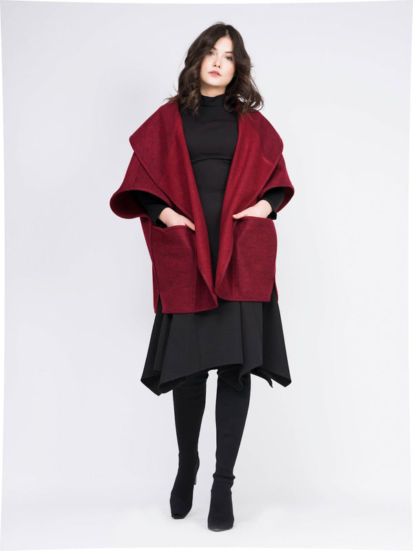 Oversized cherry wool blend cape