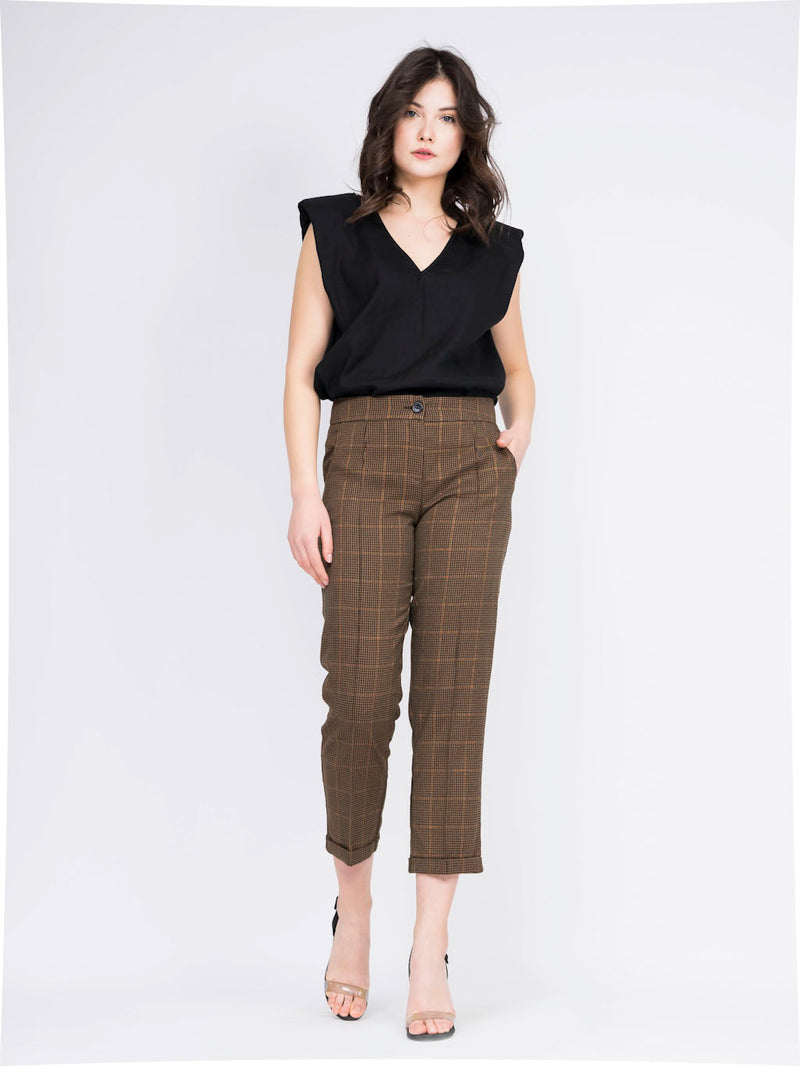 checkered Straight trousers