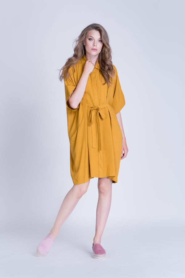 Fitted shirt dress with waist tie