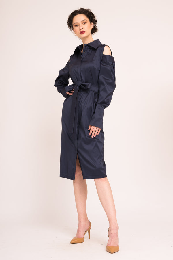 Shirt-dress with cut-out shoulders and waist tie