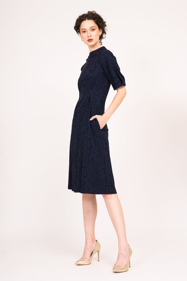 Navy jacquard dress with short sleeves