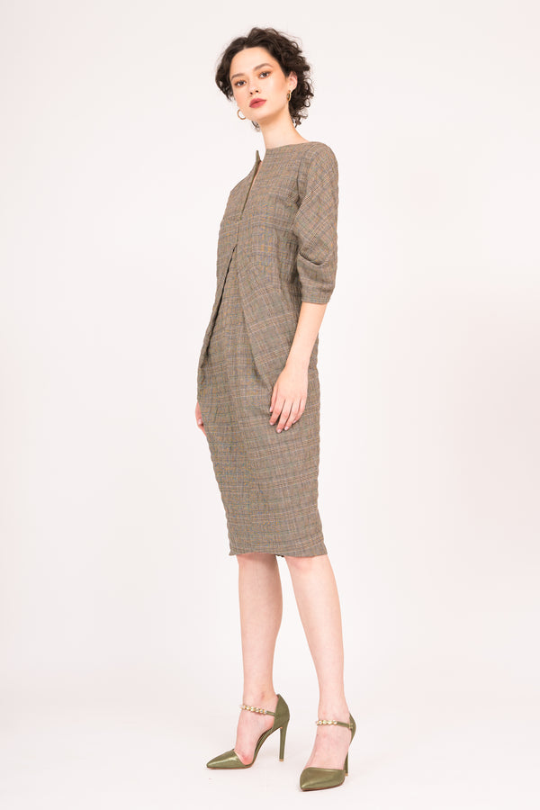 Front zipper dress with ruched sleeves