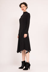 Flared midi dress with high neck and long sleeves