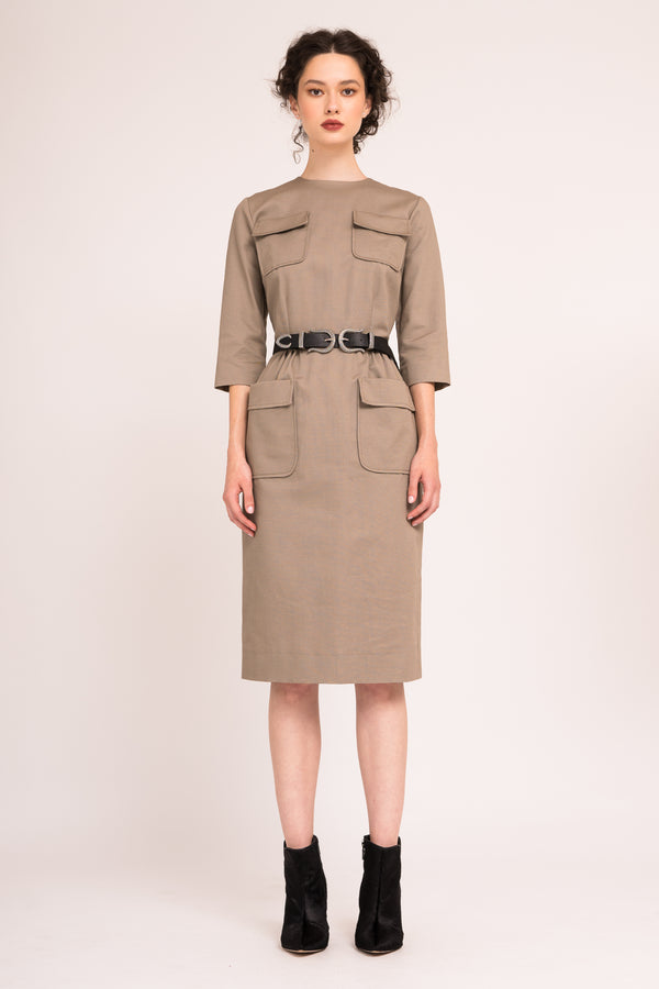 Structured army dress with applied pockets