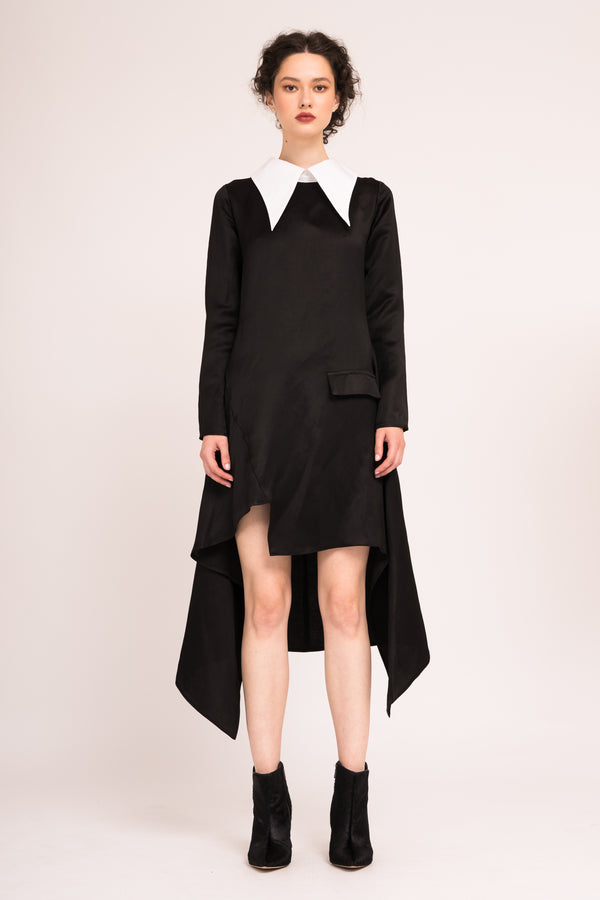 Asymmetrical dress with contrasting  oversized collar