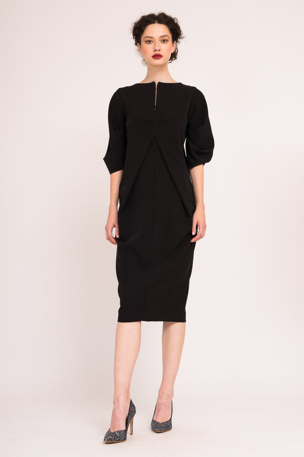 Front zipper closure dress with ruched  sleeves