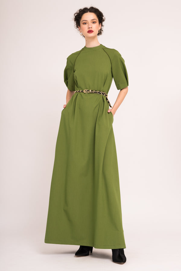 Maxi dress with short sleeves and pockets