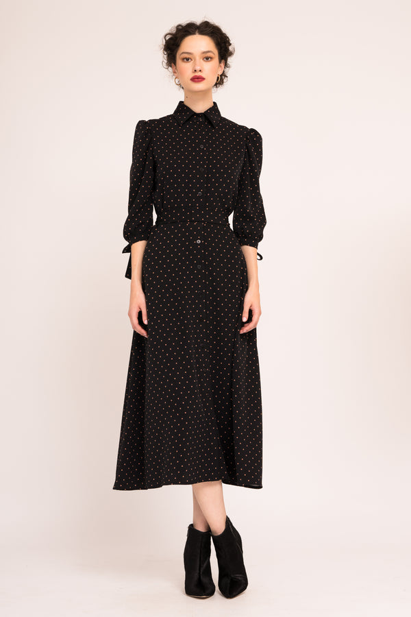 Flared dress with starts print