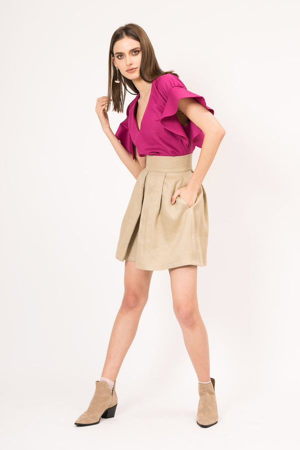 Cotton-blend mini skirt pant