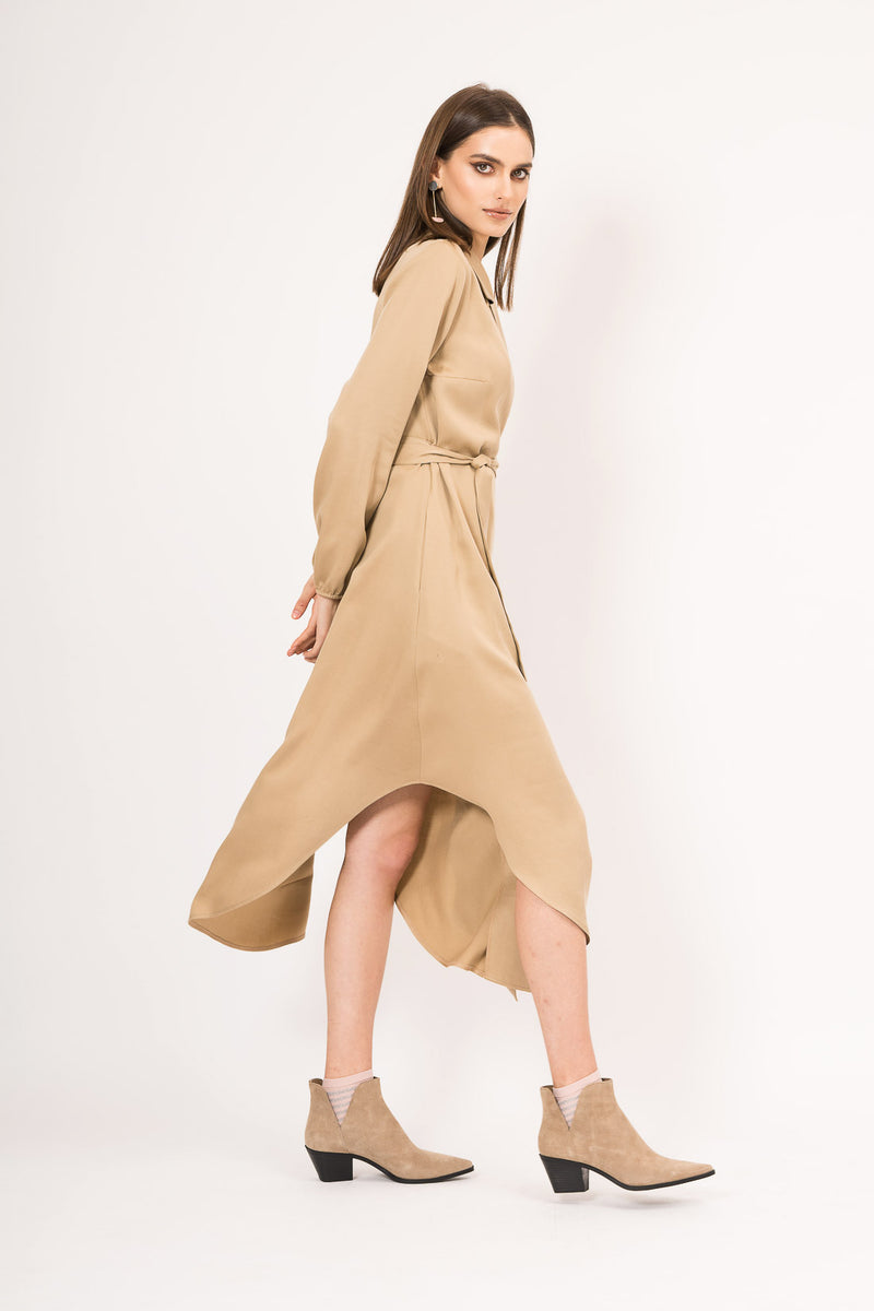 Asymmetrical dress with drawstring