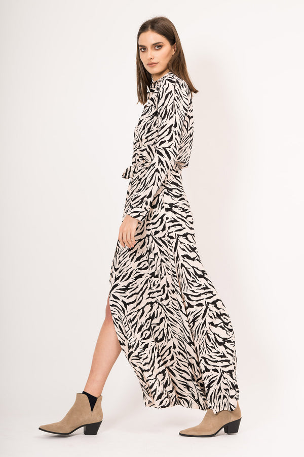 Shirt maxi dress with print