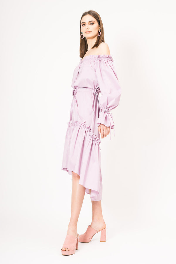 Asymmetric offthe-shoulders midi dress