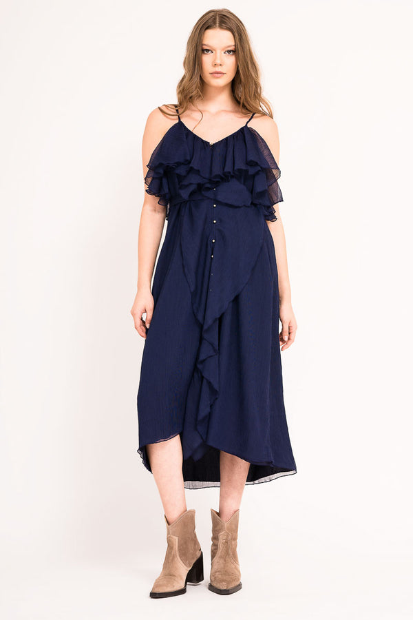 Calf length spaghetti strap dress with ruffles and front buttons