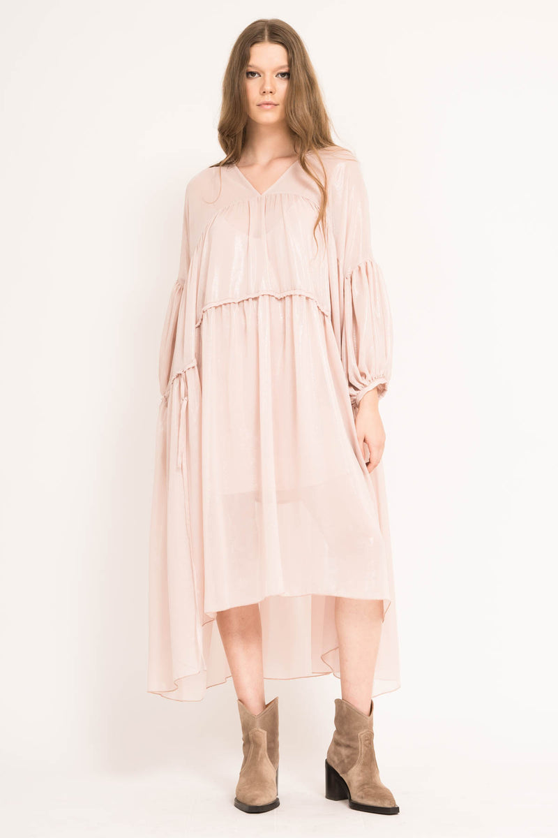 Loose midi dress with double drawstring waist