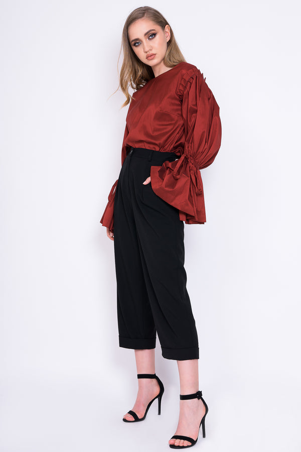 Blouse with Red Ruby Sleeves