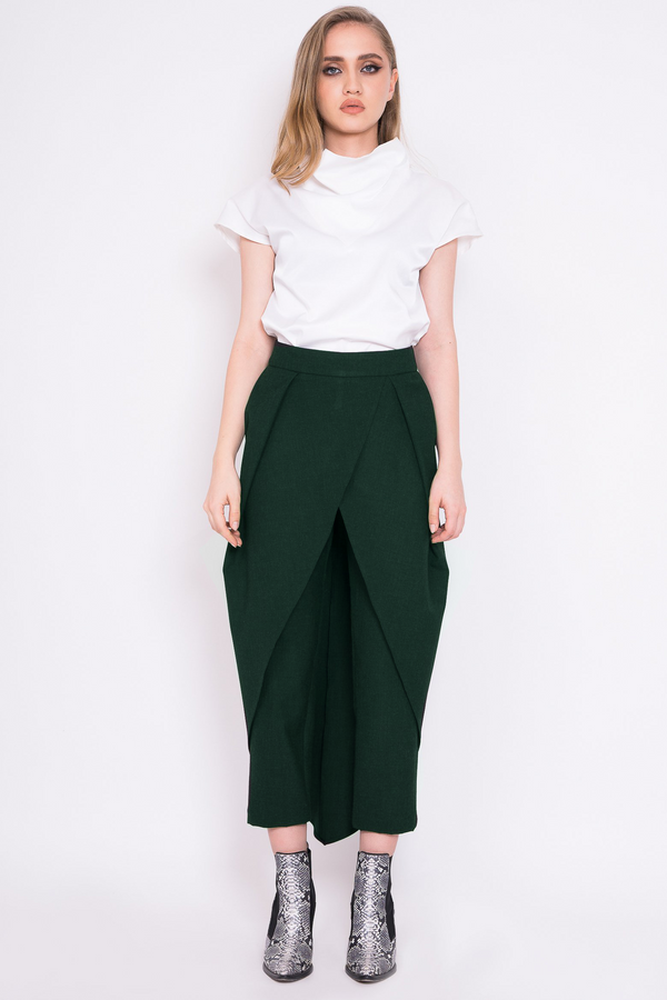 Wrap-around green trousers with back zipper