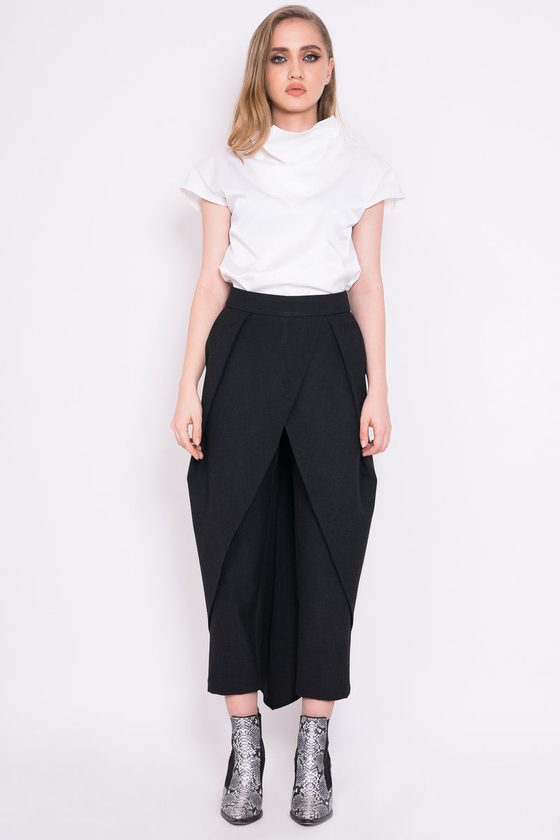 Wrap-around wool trousers with back zipper