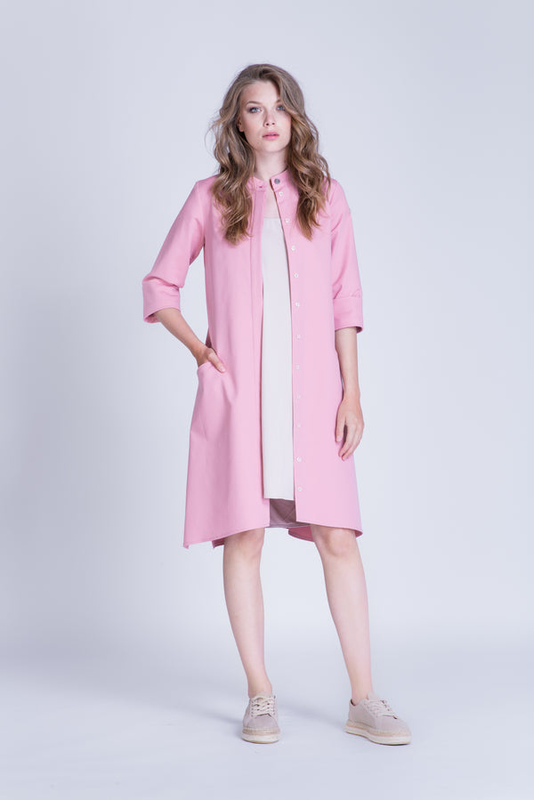 Rochie tip trench din bumbac roz