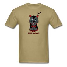 Load image into Gallery viewer, Meowcula vampire Cat Halloween T-Shirt - khaki