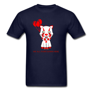 Kittywise (Pennywise IT inspired) Halloween T-Shirt Bright - navy
