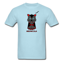 Load image into Gallery viewer, Meowcula vampire Cat Halloween T-Shirt - powder blue