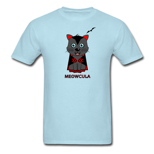 Meowcula vampire Cat Halloween T-Shirt - powder blue