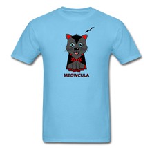 Load image into Gallery viewer, Meowcula vampire Cat Halloween T-Shirt - aquatic blue