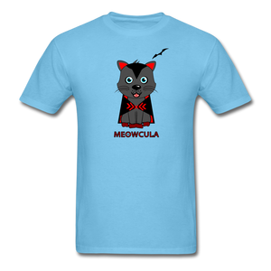 Meowcula vampire Cat Halloween T-Shirt - aquatic blue