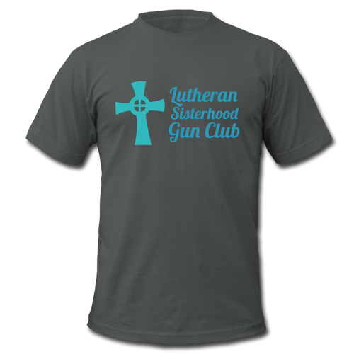 Lutheran Sisterhood Gun Club Men's  Jersey T-Shirt - asphalt