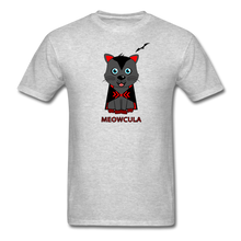 Load image into Gallery viewer, Meowcula vampire Cat Halloween T-Shirt - heather gray