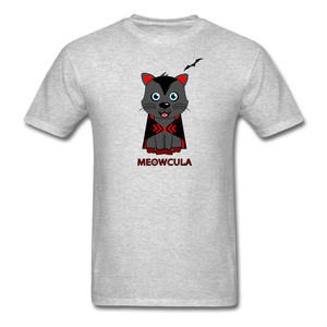 Meowcula vampire Cat Halloween T-Shirt - heather gray