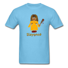 Load image into Gallery viewer, Slayoncé (Beyonce Parody)Halloween T-Shirt - aquatic blue