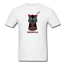 Load image into Gallery viewer, Meowcula vampire Cat Halloween T-Shirt - white