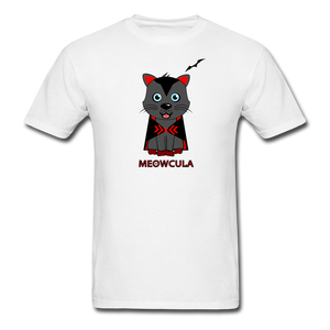 Meowcula vampire Cat Halloween T-Shirt - white