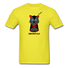 Load image into Gallery viewer, Meowcula vampire Cat Halloween T-Shirt - yellow