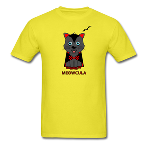 Meowcula vampire Cat Halloween T-Shirt - yellow