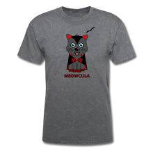 Load image into Gallery viewer, Meowcula vampire Cat Halloween T-Shirt - mineral charcoal gray