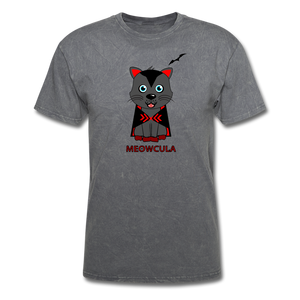 Meowcula vampire Cat Halloween T-Shirt - mineral charcoal gray
