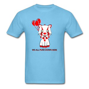 Kittywise (Pennywise IT inspired) Halloween T-Shirt Bright - aquatic blue