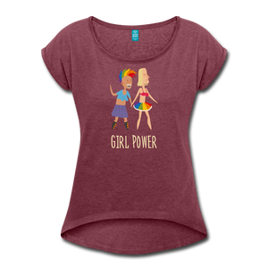 Girl Power Women's Roll Cuff T-Shirt - heather burgundy