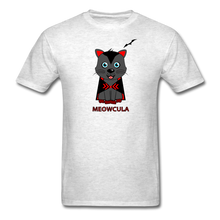 Load image into Gallery viewer, Meowcula vampire Cat Halloween T-Shirt - light heather grey