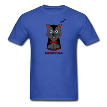 Load image into Gallery viewer, Meowcula vampire Cat Halloween T-Shirt - royal blue